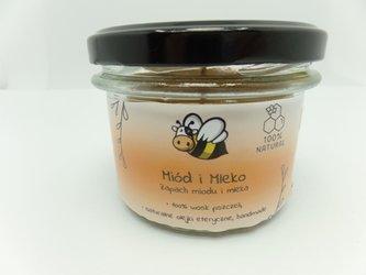 Świeca w słoiku z wosku pszczelego miód i mleko 235 ml