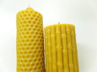 Zestaw dwóch świec z wosku pszczelego lana duża
