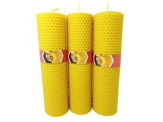 Zestaw trzech ekologicznych świec ręcznie zawijanych z wosku pszczelego