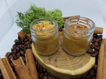 Ekologiczna świeca w słoiku z wosku pszczelego z bursztynem