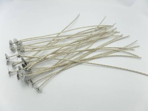 Knoty bawełniane z blaszkami knoty 20 cm 10 szt.