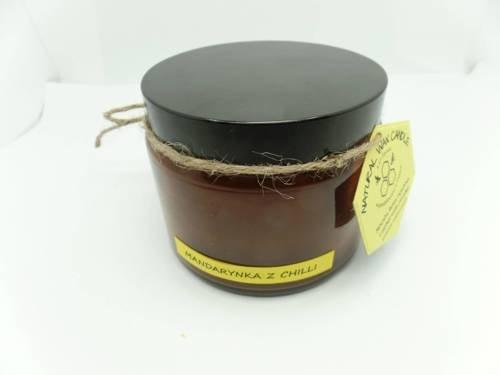Świeca w słoiku z wosku pszczelego mandarynka z chili 500 ml