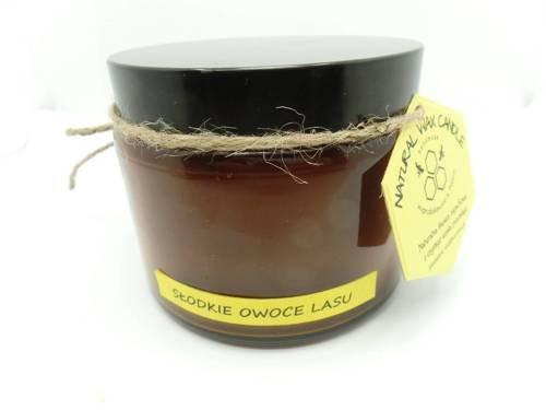 Świeca w słoiku z wosku pszczelego słodkie owoce lasu 500 ml