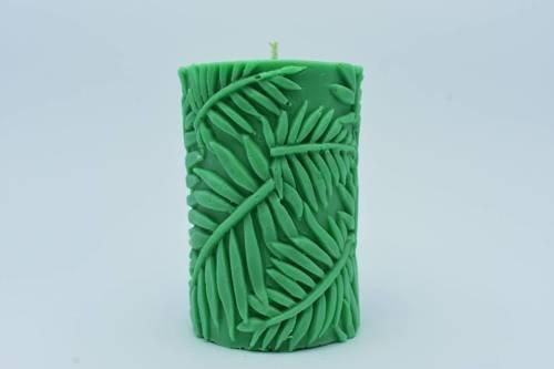 Świeca z wosku sojowego zielony walec liśćm 175g