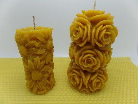 Zestaw świec kwiatowych z wosku pszczelego